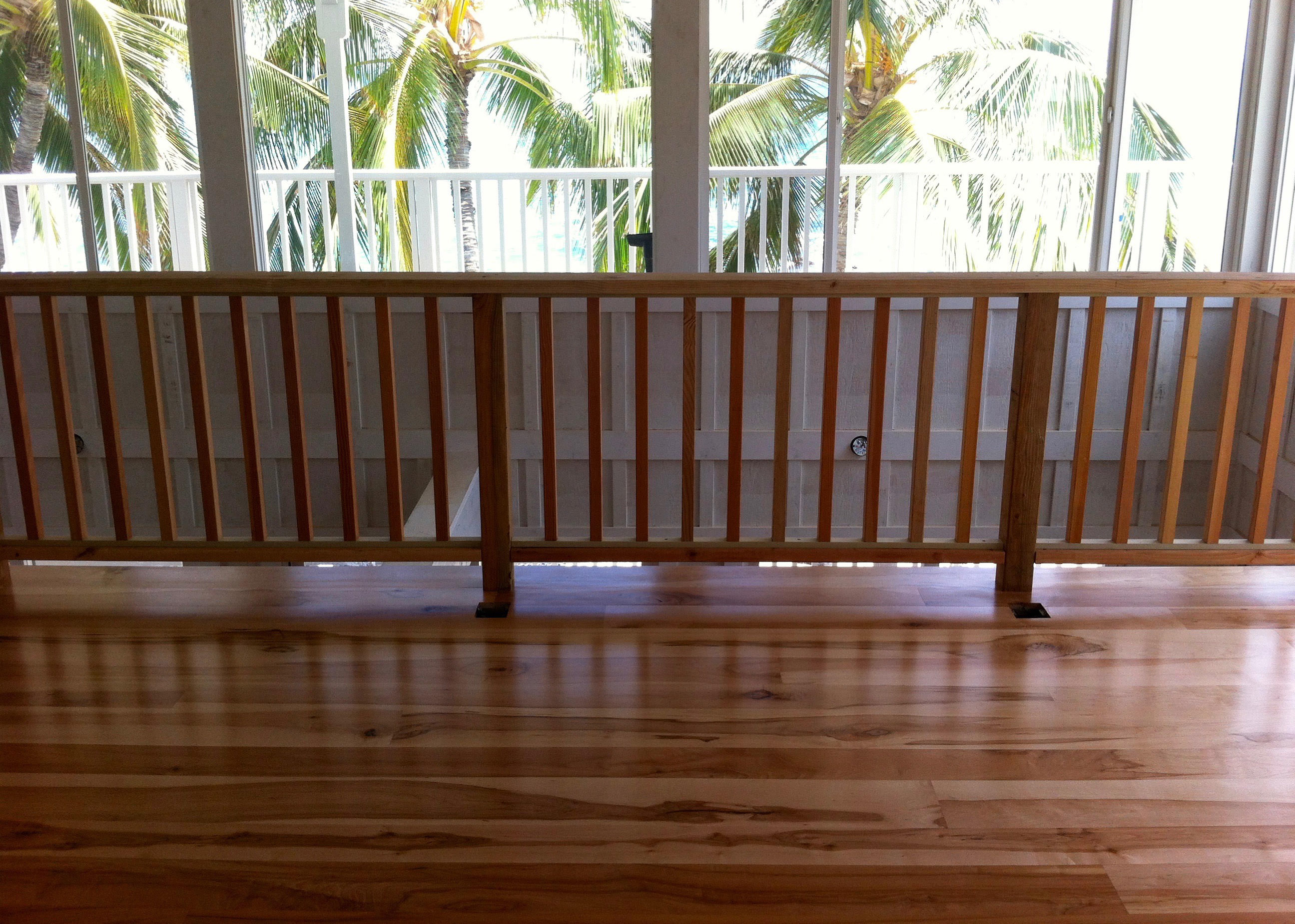 character grade maple hardwood flooring on balcony in lahaina maui
